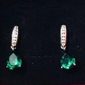 Sterling silver pear , sapphire drop earrings